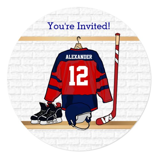 Blue and Red Ice Hockey Jersey Birthday Party Invitation