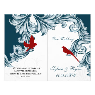 blue and red lovebirds  folded Wedding program