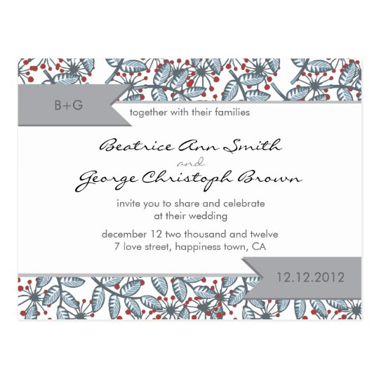 blue and red lovely floral pattern wedding invite postcard