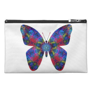 Blue and Red Mandala Fantasy Butterfly Travel Accessory Bag