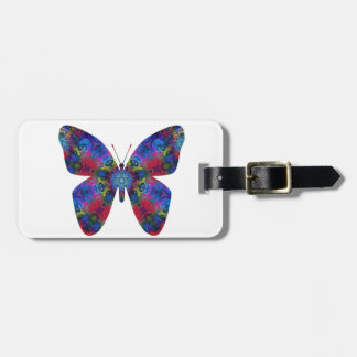Blue and Red Mandala Fantasy Butterfly Bag Tags