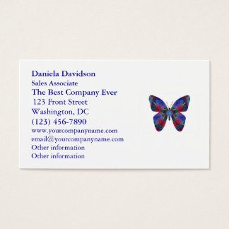 Blue and Red Mandala Fantasy Butterfly Business Card
