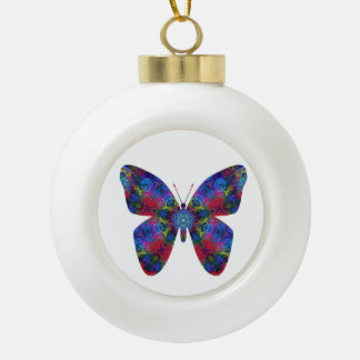 Blue and Red Mandala Fantasy Butterfly Ceramic Ball Christmas Ornament
