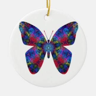 Blue and Red Mandala Fantasy Butterfly Ceramic Ornament