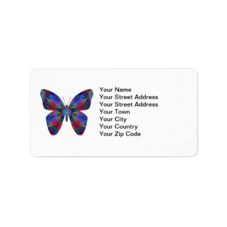 Blue and Red Mandala Fantasy Butterfly Label