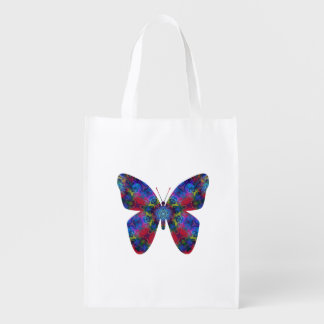 Blue and Red Mandala Fantasy Butterfly Market Tote