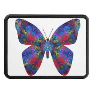 Blue and Red Mandala Fantasy Butterfly Trailer Hitch Cover