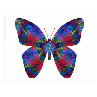 Blue and Red Mandala Fantasy Butterfly Postcard