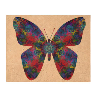 Blue and Red Mandala Fantasy Butterfly Cork Paper Print