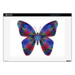 Blue and Red Mandala Fantasy Butterfly Decal For Laptop