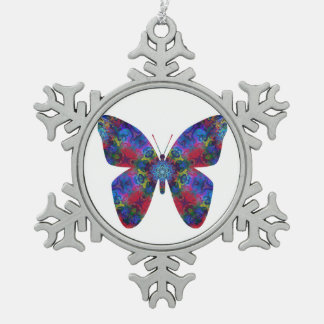 Blue and Red Mandala Fantasy Butterfly Snowflake Pewter Christmas Ornament