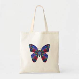 Blue and Red Mandala Fantasy Butterfly Tote Bag