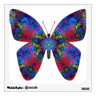 Blue and Red Mandala Fantasy Butterfly Room Stickers