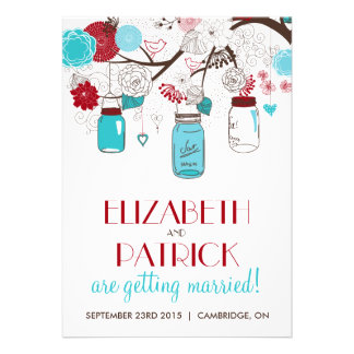Blue and Red Mason Jars Holiday Wedding Invitation