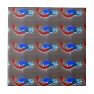 blue and red mermaids tile