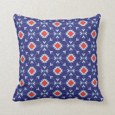 Aztec Themed Blue and red Moroccan geometric throw pillow