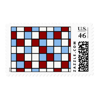 Blue and Red Mosaic Tile Pattern Gifts Postage Stamps