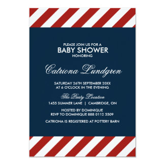 Blue and Red Nautical Baby Shower Invitation