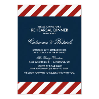 """Blue and Red Nautical Rehearsal Dinner Invitation 5"""" X 7"""" Invitation Card"""