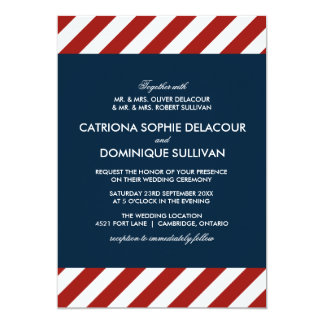 "Blue and Red Nautical Stripes Wedding Invitation 5"" X 7"" Invitation Card"