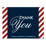 Blue and Red Nautical Wedding Thank You Post Card