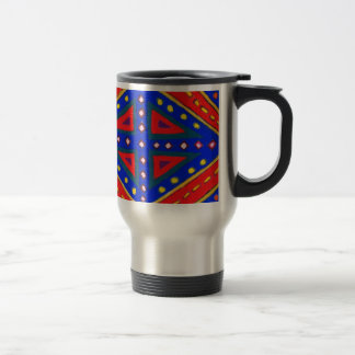 Blue and Red Ornamental Pastel Diamond Pattern Travel Mug