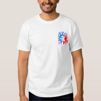 Blue and Red Paintball Splatter and Mascot Tee Shirt