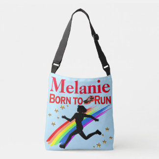 BLUE AND RED PERSONALIZED BORN TO RUN TOTE BAG