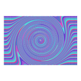 Blue and Red Purple Lines Swirl Poster