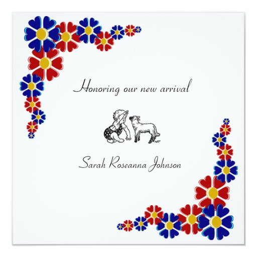 "Blue and red retro flowers baby shower invitation 5.25"" square invitation card"