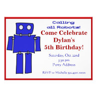 Blue and Red Robot Birthday Party Invitations
