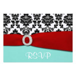 Blue and Red RSVP Wedding Cards