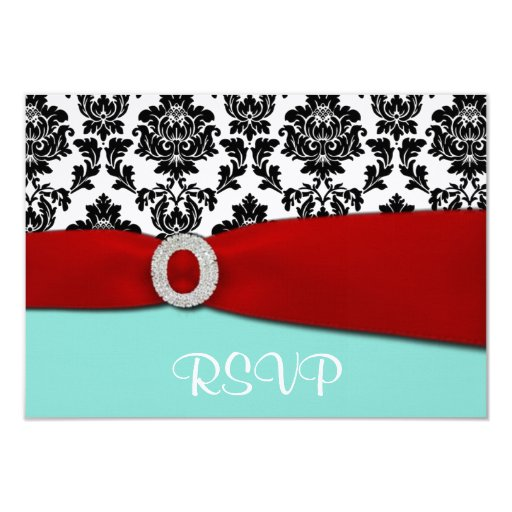 """Blue and Red RSVP Wedding Cards 3.5"""" X 5"""" Invitation Card"""