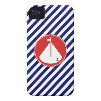 Blue and Red Sailboat iPhone 4 Cases