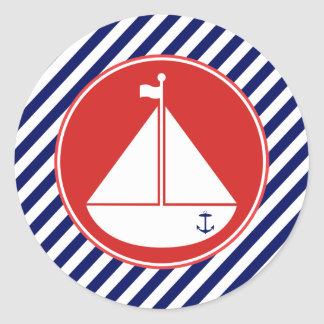 Blue and Red Sailboat Classic Round Sticker