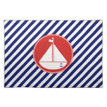 Blue and Red Sailboat Cloth Placemat