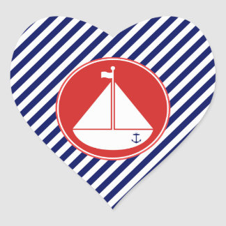 Blue and Red Sailboat Heart Sticker