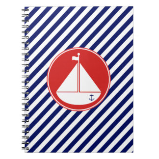 Blue and Red Sailboat Journal