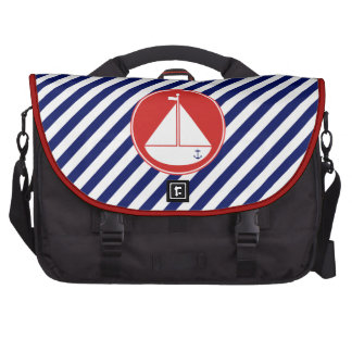 Blue and Red Sailboat Computer Bag