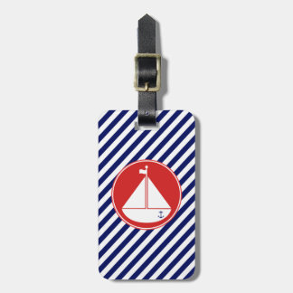 Blue and Red Sailboat Luggage Tag
