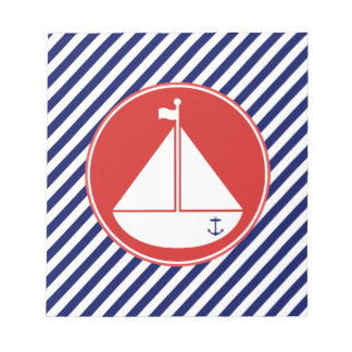 Blue and Red Sailboat Memo Note Pads