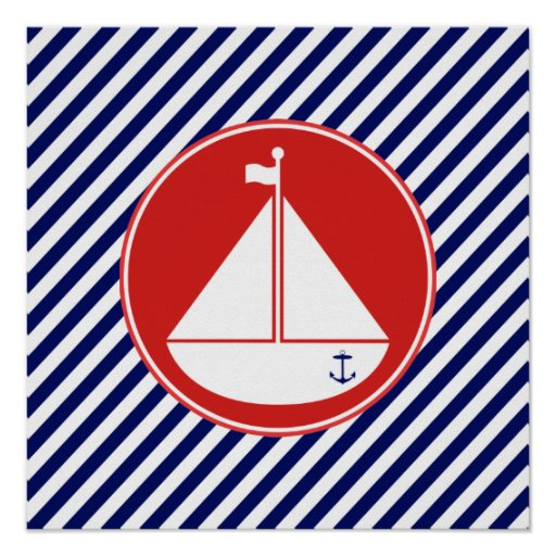 Blue and Red Sailboat Posters