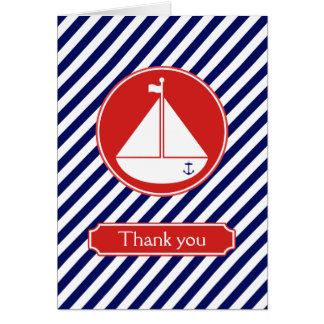 Blue and Red Sailboat Thank You Stationery Note Card
