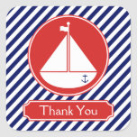 Blue and Red Sailboat  Thank You Square Sticker