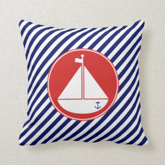 Blue and Red Sailboat Throw Pillow