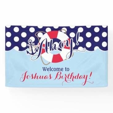 MetroEvents Blue and Red, Sailor, Nautical Birthday Banner