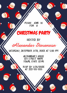 blue and red santa cartoon funny christmas party invitation