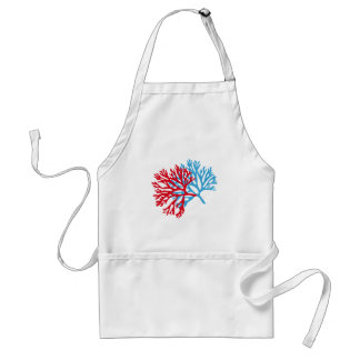 blue and red sea fan coral silhouette adult apron