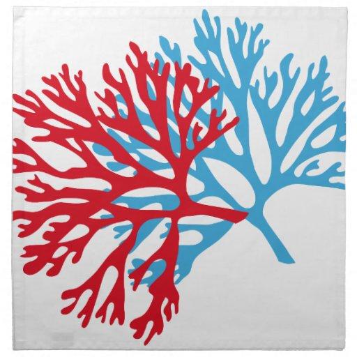 Blue And Red Sea Fan Coral Silhouette Cloth Napkin