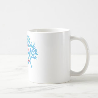 blue and red sea fan coral silhouette coffee mug